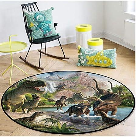Modernen Teppich 80X80Cm CYSGJ Kinder Cartoon Teppich Cartoon Dinosaurier Runden Teppich Wohnzimmer Dekorativen Teppich Kinderzimmer Teppich