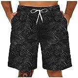 Pantalones Cortos Hombre Deporte SHOBDW Hawai 3D Impresión Verano Pantalones Cortos Playa 2021 Nacionalidad Estilo Pantalones Hombre Chandal Cordón Elástico Cortos Tallas Grandes (Black, XL)