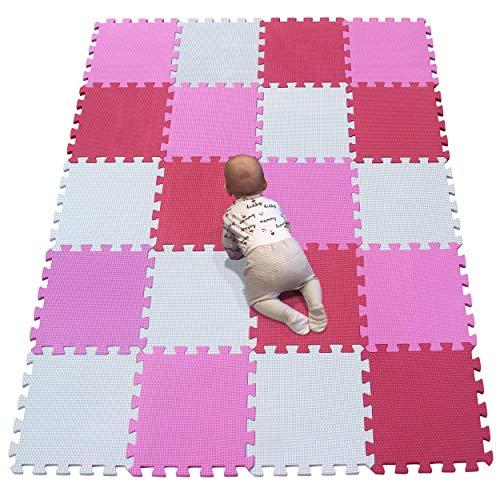 YIMINYUER Foam Puzzle Spielmatte Kids Multi-Color Safe Baby-Spielplatz Weich gepolsterter Bodenschutz Hochwertiger Eva-Schaum Interlocking Weiß Rosa Rot R01R03R09G301020