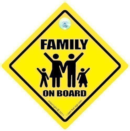 Cartello 'Family on Board', segnale per auto familiare, cartelli stile 'bimbo a bordo', decalcomania, adesivo paraurti