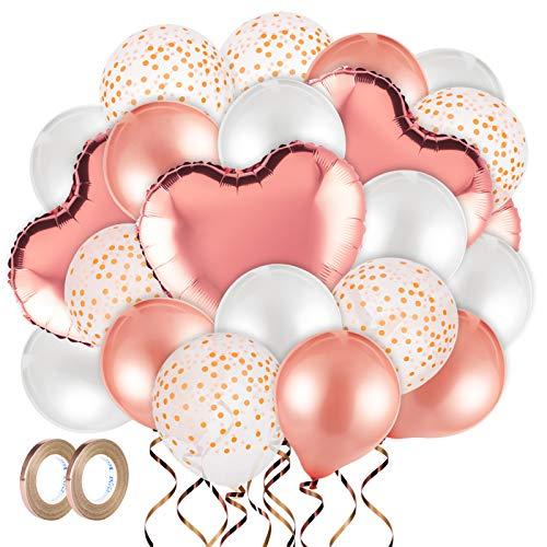 MELLIEX Helium Luftballons Set, 48 Stück Rosegold Ballons Enthält Folien Herzluftballon Konfetti Luftballons Latex-Ballon für Geburtstag, Hochzeit, Babyparty Party Deko