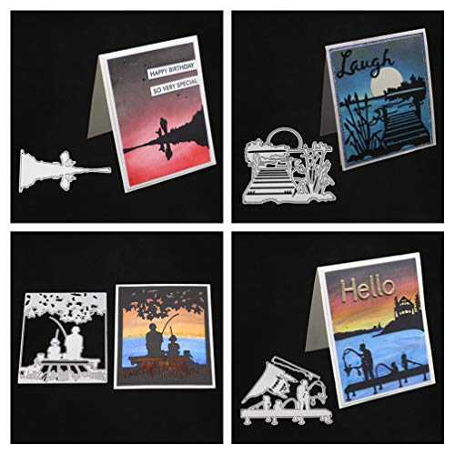 Meslio 4pcs Cutting Dies Metal Scrapbooking Stencils Die for DIY Embossing Photo Album Decorative DIY Paper Cards Making Father's Day Card Gift