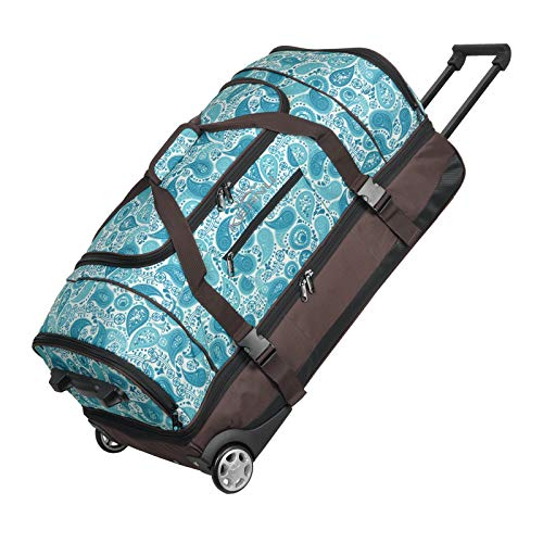 KEANU Reisetrolley Rollen Reisetasche :: XL Trolley Scooter :: 85 Liter Volumen, 2 getrennte Hauptfächer, Wäsche- Schuhfach, Seitentasche, Vordertasche (Brown Blue Paisley)