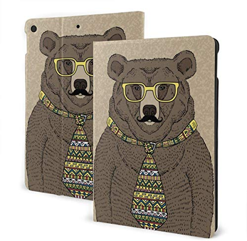 Bear in Tie and Glasses with Mustache Case for New Ipad 7th Generation 10.2 Inch 2019 Multi-Angle Viewing Folio Smart Stand Cover Auto Wake/Sleep for Ipad 10.2' Tablet