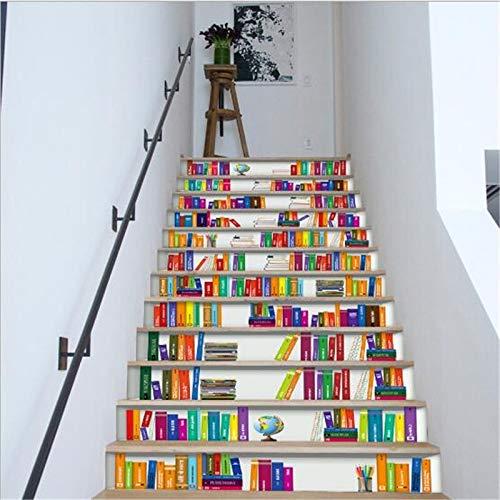 12 unids escaleras de baldosas pegatina autoadhesiva removible azulejos de cerámica PVC escalera papel tapiz decorada vinilo escalera decoración del hogar 100 * 18 cm ( Color : 007 Stair Stickers )