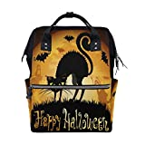 Halloween Cat Moon School Backpack Bookbag Travel Shoulder Stylish Large Capacity Diaper Bags
