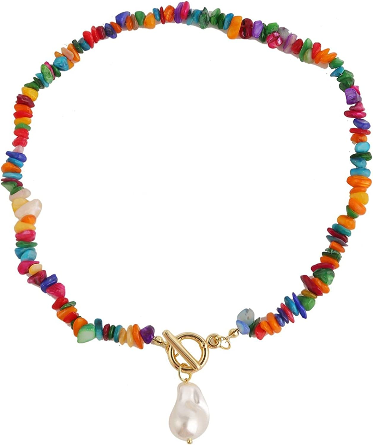 Colorful Stone Choker Necklace Boho Bead Pearl Pendant Necklaces Handmade Rainbow Stone OT Clasp Chain Jewelry Bohemian Gemstone Pearl Beaded Collar Necklace