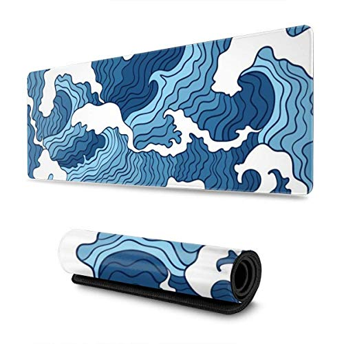 Japanese Blue and White Wave Gaming Mouse Pad XL Non-Slip Rubber Base Mousepad Stitched Edges Desk Pad Extended Large Mice Pad31.5×11.8 Inch