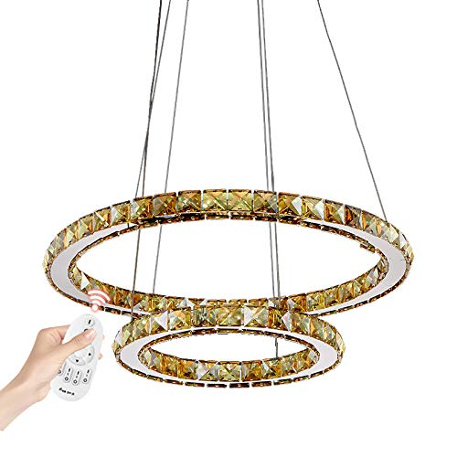 LED Pendelleuchte 3310WJ-2 Ringe 60 W mit Fernbedienung Lichtfarbe/Helligkeit einstellbar Luxus Design K9 Kristall chrom zwei Ringe Ø 70cm 50cm A+