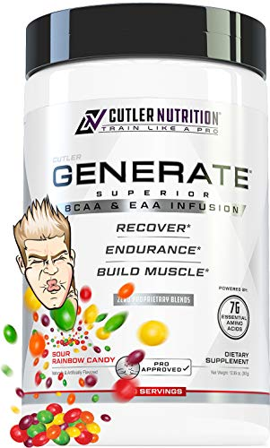 Generate EAA and BCAA Powder: Best Branched Chain Amino Acids Supplement with Essential Amino Acids, 5g BCAAs, 2g EAAs for Lean Muscle Mass | Sour Rainbow Candy, 30 Servings