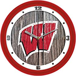 SunTime Wisconsin Badgers - Weathered Wood Wall Clock