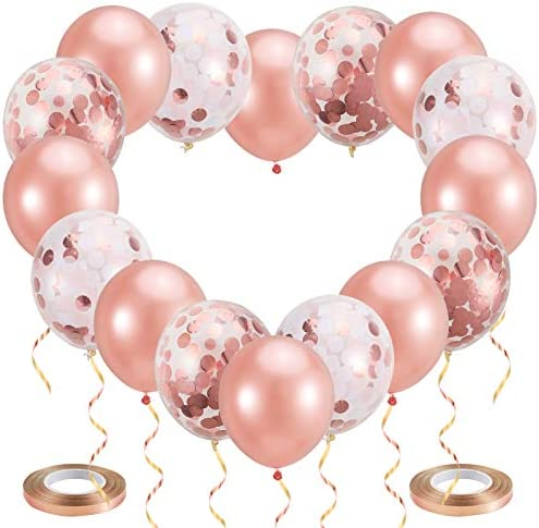 Pllieay 21 Pieces Rose Gold Confetti Balloons Set Including Rose Gold, Pink, White Confetti Balloons, Rose Gold Latex Balloons and 1 Roll Balloon Ribbon for Birthday, Wedding Party Decorations