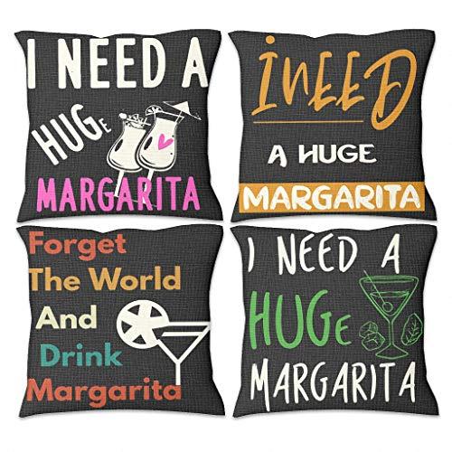 Butterfly Goods 4 fundas de cojín Margarita I Need decorativas, fundas de almohada con cremallera oculta, para café blanco, 45 x 45 cm
