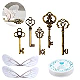 50 PCS Vintage Skeleton Keys Flying Keys with Dragonfly Wings and Clear Fishing Line for DIY Craft Jewelry Making Necklace Bracelet Charms Crafts Party Favor Home Decoration