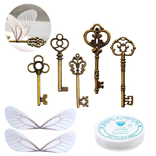 Aokbean 50 PCS Vintage Skeleton Keys Flying Keys with Dragonfly Wings and Clear Fishing Line for DIY Craft Jewelry Making Necklace Bracelet Charms Crafts Party Favor Home Decoration