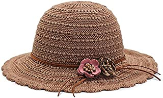 CHENDX Hat Fashion Sunscreen Straw Hat Spring and Summer Female Big Along The Solid Color Breathable Sun Visor Hat Sunshade Beach Hat (Color : Khaki)