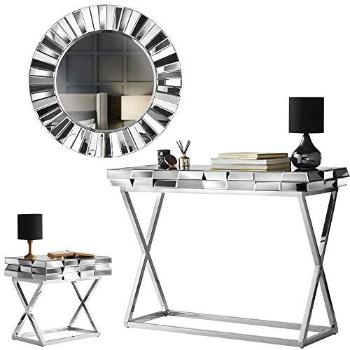 Carme Knightsbridge Collection – Wandspiegel – verspiegelter Konsolentisch – verspiegelter Beistelltisch mit Schublade, glas, rose gold, Set 3 Round Mirror + Console & Side Table Grey