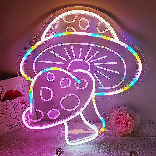 DIVATLA Mushroom Neon Sign with 3D Art,Powed by USB Neon Mushroom Sign. Colorful Neon Sign Mushroom...