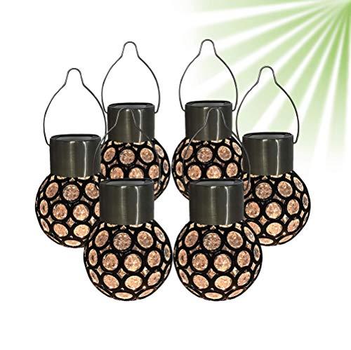 ISOTRONIC Solarbetriebene Warmes Weißes Hängendes Kugel Licht LED - Wasserfest Solarlampen - Solarleuchten/Solar Lampen/Solar Laterne für Außen, Draußen, Garten (6 Stück)