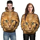 2018, Men Women Couples 3D Cat Print Long Sleeve Hoodies Top Blouse Shirts (X-Large, Coffee)