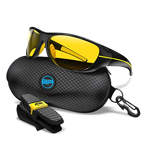 BLUPOND Night Driving Glasses for Men/Women - Semi Polarized Yellow Tint - TAC HD Vision for Motorcycle Riding - Chopper (Black Yellow Frame)