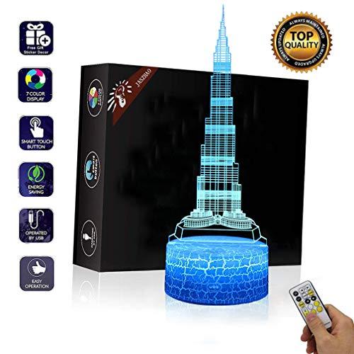 JASZHAO 3D Burj Dubai Illusion Lampe USB Lampe Fernbedienung und Touch RGB 7 Farbwechsel Nachttischlampe Nachttischlampe LED Tischlampe Weihnachtsspielzeug Geschenk