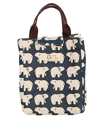 WeiMay Toile Paquet d'isolation Imperméable Portable Sac à lunch Sac à lunch box size 24 * 20 * 17 cm (Ours Style)