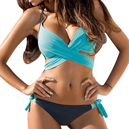 TUDUZ Damen Bikini Set Push Up Neckholder Bandeau Badebekleidung Strand Badeanzug Strandkleidung Bademode (Himmelblau, Large)