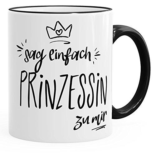 MoonWorks Kaffee-Tasse Sag einfach Prinzessin zu Mir Tasse mit Farbiger Kante schwarz Unisize