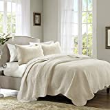Madison Park Tuscany Quilt Set - Casual Damask Medallion Stitching Design Anti-Microbial, Lightweight Coverlet Bedspread Bedding, Shams, Full/Queen(94'x96'), Scallop Edges Cream, 3 Piece