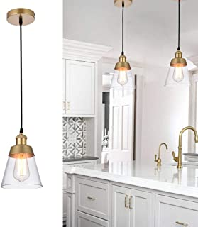 Cuaulans Modern 1 Pack Glass Shade Pendant Lights, Gold Painted Ceiling Hanging Pendant Lighting Fixture with Adjustable Cord