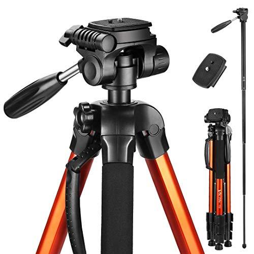 Victiv 182 cm Reisestativ Aluminium Einbeinstativ T72 - Leicht und Kompakt Kamerastativ für unterwegs mit 360° Panorama Kugelkopf und 2 Schnellwechselplatte für Spiegelreflexkamera - Orange