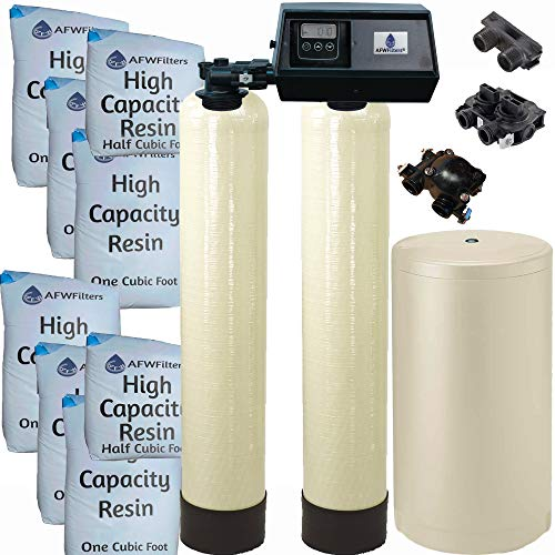 AFWFilters Fleck 9100SXT Dual tank water softener 110k, 110,000 grain with the digital 9100 sxt valve