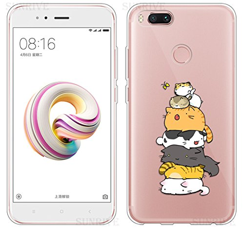 Sunrive Funda para Xiaomi Mi A1, Silicona Funda Slim Fit Gel Transparente Carcasa Case Bumper de Impactos y Anti-Arañazos Espalda Cover(TPU Gato 3) + 1 x Lápiz óptico