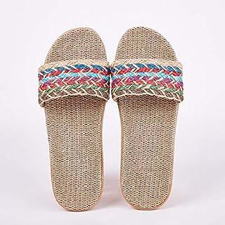 Women's Linen Slippers Sandals Summer Comfortable Non-slip Ladies' Home Slippers Cross-tied Casual Indoor Shoes Multicolor (Color : Orange, Shoe Size : 6.5)