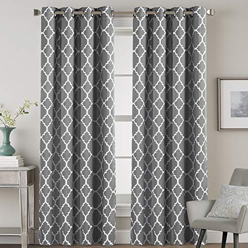 H.VERSAILTEX Blackout Curtains for Living Room/Bedroom Thermal Insulated Energy Saving Grommet Window Curtain Drapes (2 Panels) Geometric Moroccan Printed Draperies, Grey and White, 52 by 84 Inch