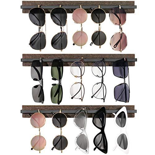 Mkono Wood Sunglasses Storage Organizer Wall Mounted Rustic Eyeglasses Display Holder Eyewear Glasses Hanging Rack for Entryway Living Room Bedroom, 3 Pack, Brown