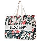 JANSBEN borsa da spiaggia donna XXL borsa a tracolla shopper borsa da spiaggia in tela, grande borsa da spiaggia 48L, borse a tracolla, con cerniera (Leaves)