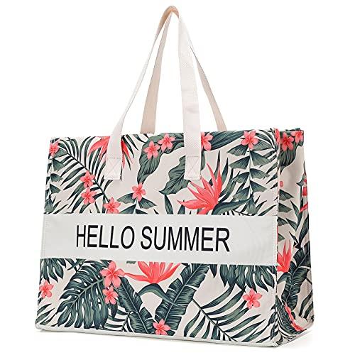 JANSBEN para Mujer XXL Bolso de Hombro Shopper Bolso de Playa de Lona, Bolso de Playa Grande 48L, Bolsos de Hombro, con Cremallera (Leaves)