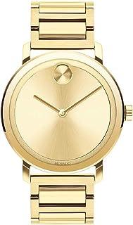 Movado Bold Evolution LYG - Reloj de pulsera para hombre con esfera plana de rayos de sol, color dorado (modelo 3600508)