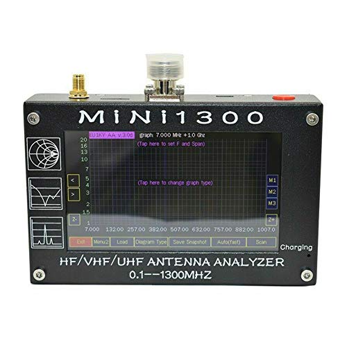 MINI1300 Antennenanalysator, 10,9 cm TFT LCD Tester Antenne Analyzer Tester Meter Tragbar 0,1–1300 MHz Frequenz HF VHF UHF SWR, schwarz