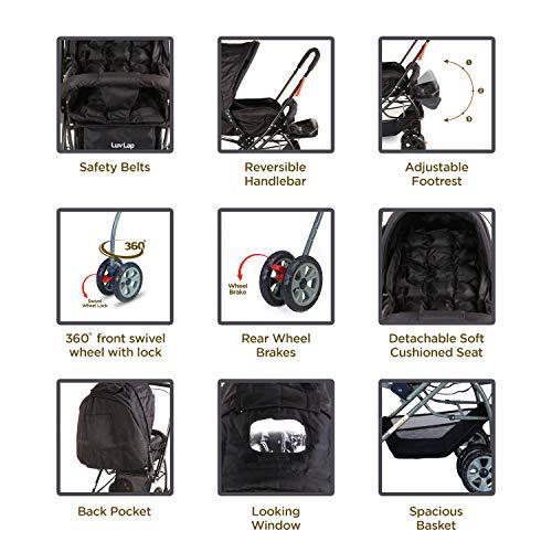 LuvLap Starshine Stroller/Pram, Easy Fold for Newborn Baby/Kids, 0-3 Years (Black) 3