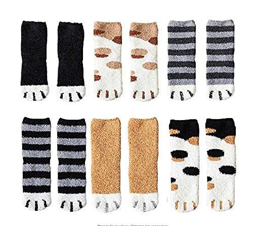 LZEN 6 paires de chaussettes de plancher chaudes et épaisses mignonnes de chat d'hiver, chaussettes...