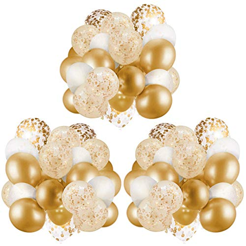 60 Pack Gold Balloons + Gold Confetti Balloons w/Ribbon | Balloons Gold | Gold Balloon | Gold Latex Balloons | Golden Balloons | White and Gold Balloons 12 inch | Clear Balloons with Gold Confetti |
