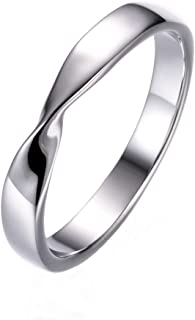 Stainless Steel Simple Fashion Mobius Ring Couple Ring Wedding Promise Band Ring