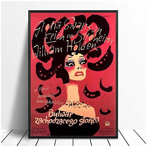 TanjunArt Sunset Blvd póster de película imágenes Impresiones en Lienzo Arte de Pared decoración Regalo Sala de estar-50x70 cm sin Marco