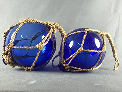 Deko - Fischerkugel aus Glas BASIC in blau mit Tauwerk - ca. 10 cm Durchmesser