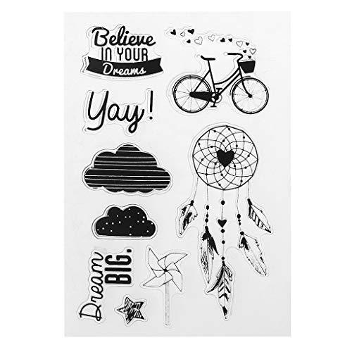 Lyguy kunststof stempel, PVC stempel Seal Bike Dreamcatcher Windmolen Cloud Fancy lettertype patronen DIY Scrapbook Photo Album kaart dagboek Decor