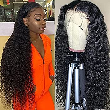 Water Wave Lace Front Wigs Human Hair Brazilian Virgin Human Hair 13X4 Lace Frontal Wig 150% Density Pre Plucked With Baby Hair Natural Black Kropan Wigs For Black Women 30 Inch