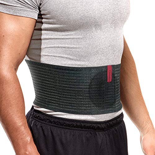 """ORTONYX Premium Umbilical Hernia Belt for Men and Women / 6.25"""" Abdominal Binder With Hernia Support Pad - Navel Ventral Epigastric Incisional and Belly Button Hernias - Black OX5241-S/M"""